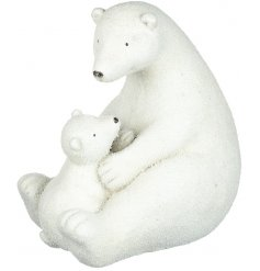 Bring a beautifully wintered feel to your home decor at Christmas with this charming sitting polar bear and cub decorat