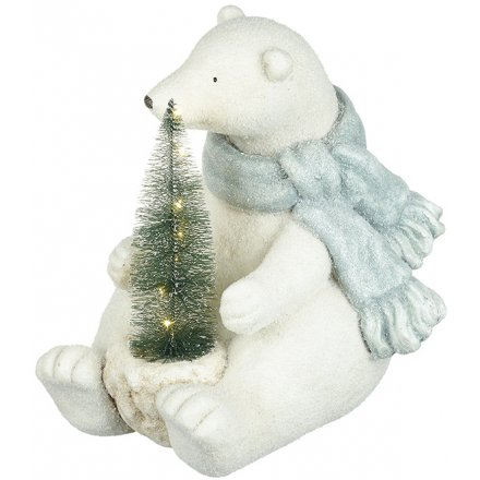 Frosted Sitting Bear & LED Tree Decoration