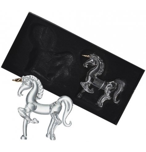 A set of 2 elegant glass unicorn hanging decorations with twisted gold horns.