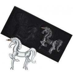 A set of 2 hanging glass unicorn shaped decorations, perfect little accents that will tie in with themed tree displays