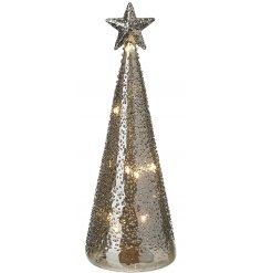 A beautifully simple LED Glass Tree Decoration, complete by a smoked grey tone and added ridged decal