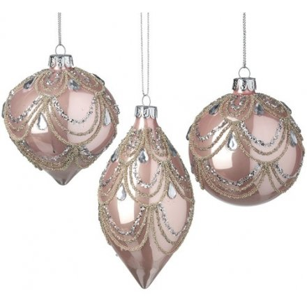 Mix Of Blush Pink Glass Baubles