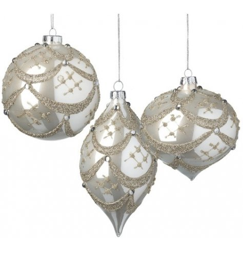 Ornate hanging baubles with decorative glitter patterns and silver sequins.
