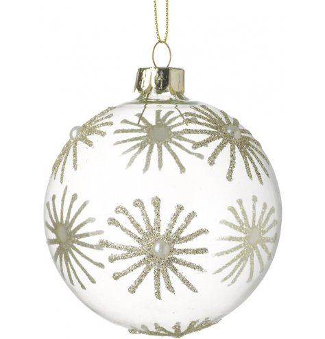 A pretty clear glass bauble with gold glitter and pearl daisies.