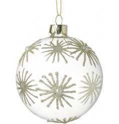 A stunning glass bauble decorated with champagne glitter stars, complete with delicate pearl detailing.