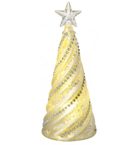 A stylish glass Christmas tree decoration with a swirl design embellished with diamond string and sequins.