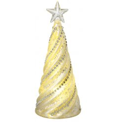 A charming glass swirl tree with an added mottled effect, warm glowing LED centre and added diamonte decal