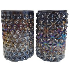 Bring a beautiful iridescent theme to your home interior with this gorgeous assortment of glass candle holders
