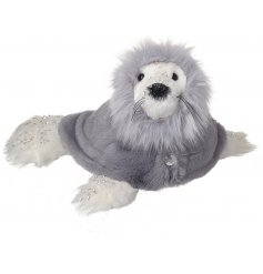An adorably fuzzy seal decoration dressed up in a snuggly soft grey hooded poncho