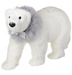A glitter dusted plush polar bear ornament with a faux fur collar. Complete with a charming silver bow tie.