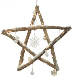 A beautiful wooden twig star covered with illuminating LEDs, snowflake features and a sprinkle of frosted glitter