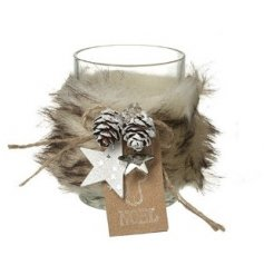 A glass Tlight Holder featuring a wrapped faux fur accent and added frosted pinecone decal