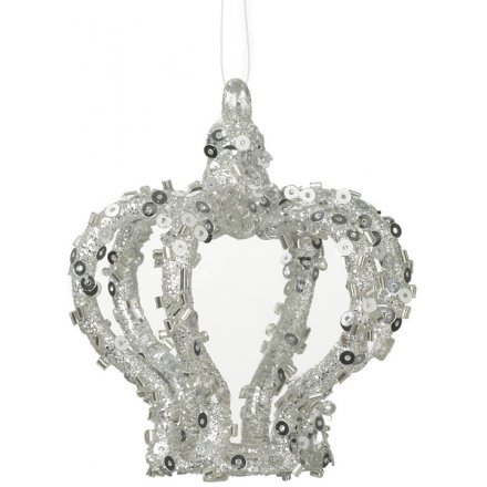 Hanging Silver Glitter Crown