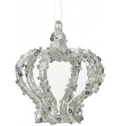 A glitzy silver hanging crown decoration with added sequins and sparkles