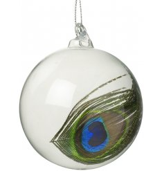 A charming yet simple clear glass bauble with an added peacock feathered decal