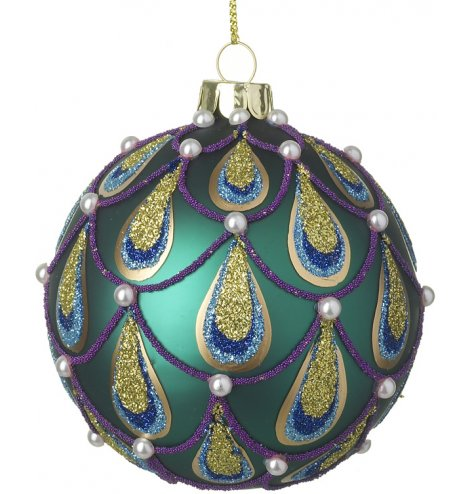 A beautifully detailed glass bauble with glitter and beaded peacock feathers, complete with pearls.