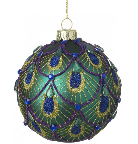 A unique and colourful glass bauble with a beaded and glitter peacock feather design.