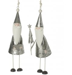 An assortment of hanging metal Santa figures set with rustic silver tones