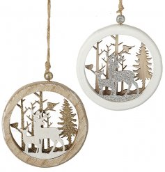 A charming mix of hanging wooden decorations featuring an assortment of glittery gold and silver woodland scenes