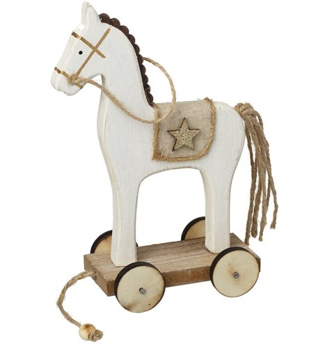 An enchanting wooden toy horse decoration with wonderful, rustic detailing