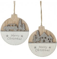 A mix of hanging wooden 2D baubles featuring a glittery Christmas scene and script text