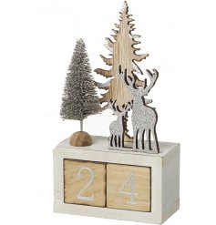 Count down the days until Christmas with this stylish wooden perpetual calendar, topped with a silver sparkling scene.