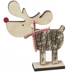 A cute little wooden mouse decoration set with a distressed birch bark coating and little red nose