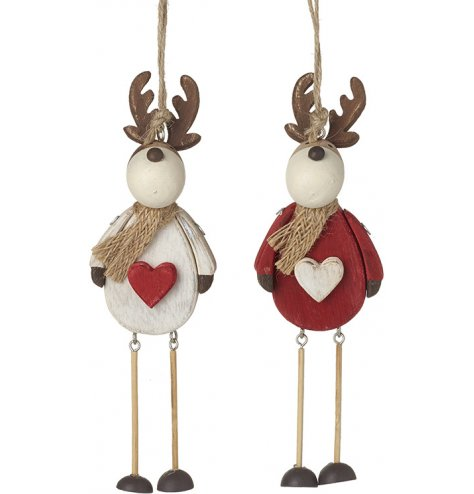Adorable rustic hanging reindeer decorations in red and white assortments.
