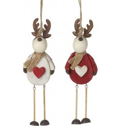A sweet assortment of red and white toned hanging wooden reindeers