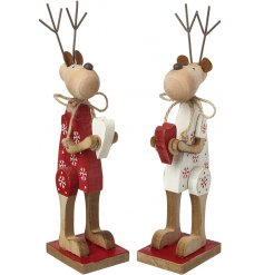 A cute mix of standing wooden reindeer decorations in red and white tones
