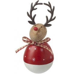 A little round wooden reindeer featuring a gingham pattern bow and little red nose