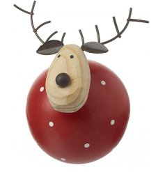 A contemporary and cute reindeer decoration with a round red polka dot body and metal antlers.