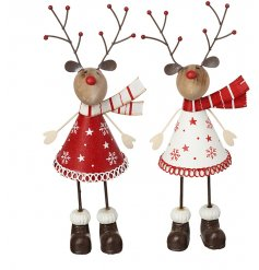An assortment of 2 adorable standing reindeer decorations in red and white designs.