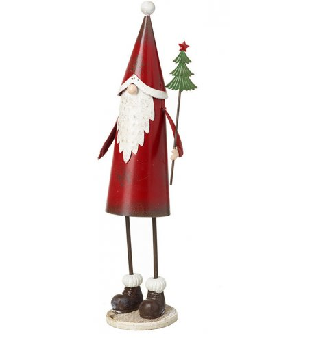 A vintage inspired metal Santa figure with a tall pointed hat, traditional boots and a green Christmas tree wand.