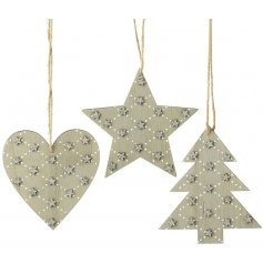 A charming mix of hanging wooden decorations in an assortment of shapes