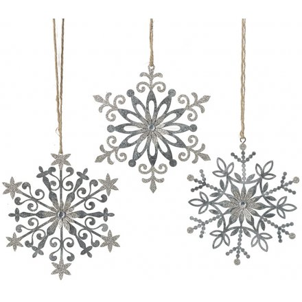 Silver Filigree Snowflakes Mix