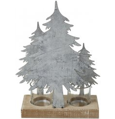 this beautifully simple metal tree double space tlight holder will be sure to project a cozy glow into any themed home
