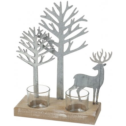 Rustic Metal Forest Candle Holder