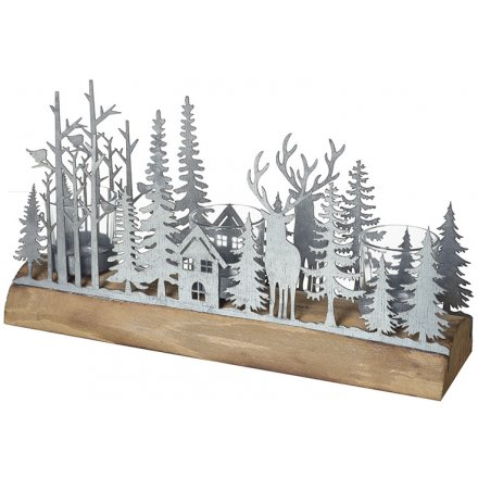Rustic Metal Forest Scene Candle Holder