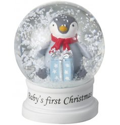 A cute little penguin themed snowglobe with an added scripted text