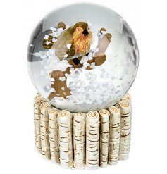 A mini snowglobe featuring a cute perched robin decal centre