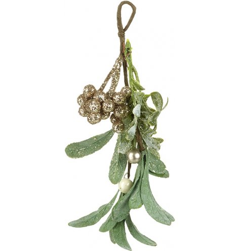 An intricate mistletoe bundle featuring luxurious gold glitter berries and pearls.