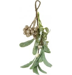 Bring a traditional touch to your Christmas Decor with this glittery hanging mistletoe decoration