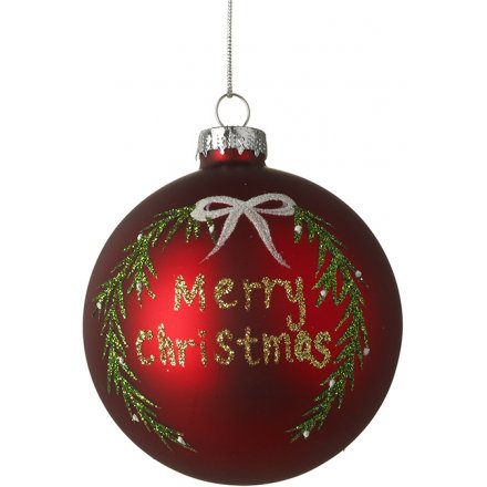 Matte Red Christmas Bauble