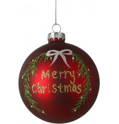 A matte red toned glass bauble featuring an added sparkling decal