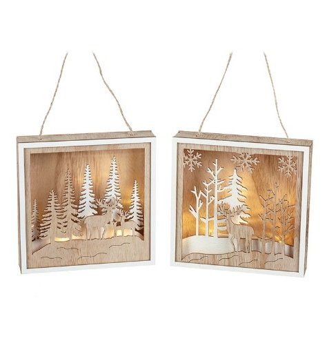 An assortment of 2 hanging LED boxes featuring intricate, layered woodland scenes.