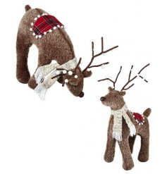 A sweet assortment of large standing fuzzy bodied reindeer featuring Tartan printed saddles and snowball covered antlers