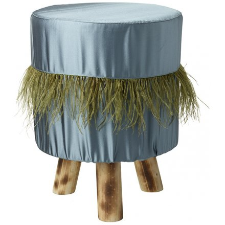 Faux Feather Green Footstool