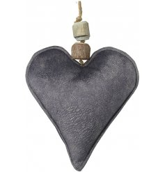 A grey toned hanging velvet heart decoration featuring an added natural wooden hanging decal