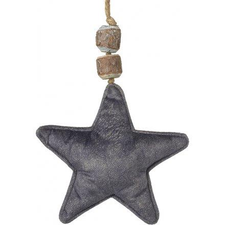 Fabric Star Decoration, Grey 18cm